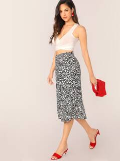 Side Zip Leopard Print A-Line Midi Skirt