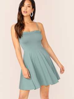 Sleeveless Ruffle Trim Jersey Knit Swing Dress