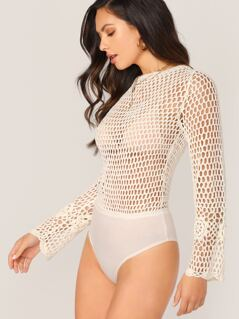 Sheer Crochet Knit V-Neck Long Sleeve Bodysuit