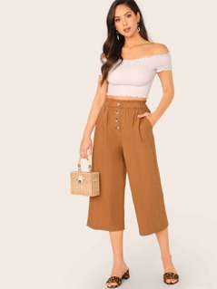 Elastic Waist Button Detail Wide Leg Cropped Pants