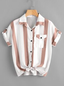 Striped Roll Tab Sleeve Knot Hem Shirt