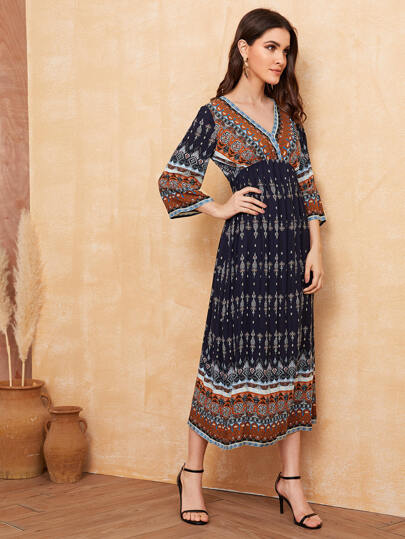 SheIn / V-neck High Waist Aztec Print Dress