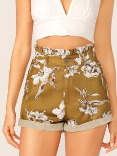 Paperbag Waist Rolled Hem Shorts