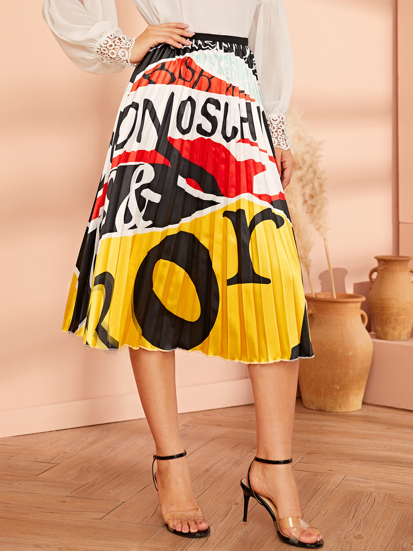 Фото - Плиссированная юбка с графическим принтом от SheIn цвет многоцветный
