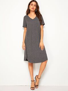 V Neck Slit Side Tee Dress