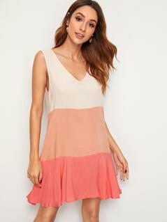 Color-block Sleeveless Swing Dress