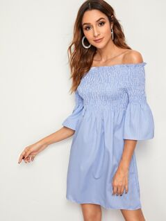 Bardot Flounce Sleeve Striped Frill Trim Shirred Dress