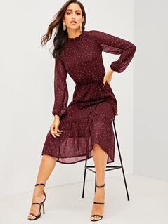 Polka-dot Ruffle Hem Mock-neck Belted Dress