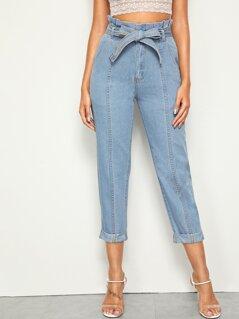 Paperbag Waist Belted Roll Up Hem Jeans