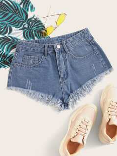 Raw Hem Mini Denim Shorts