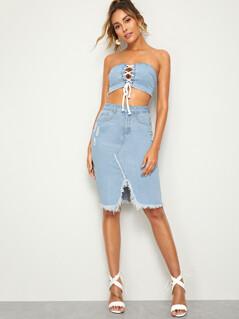 Ripped Slit Raw Hem Denim Skirt
