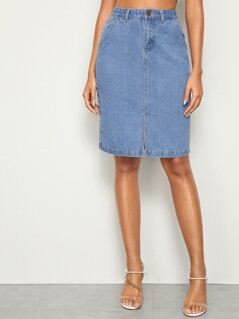 Slit Hem Straight Denim Skirt