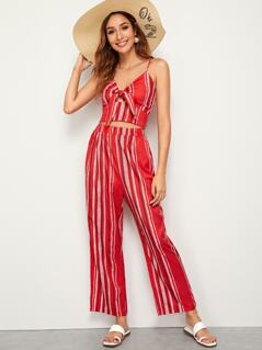 Striped Tie Front Peekaboo Cami Top & Pants Set