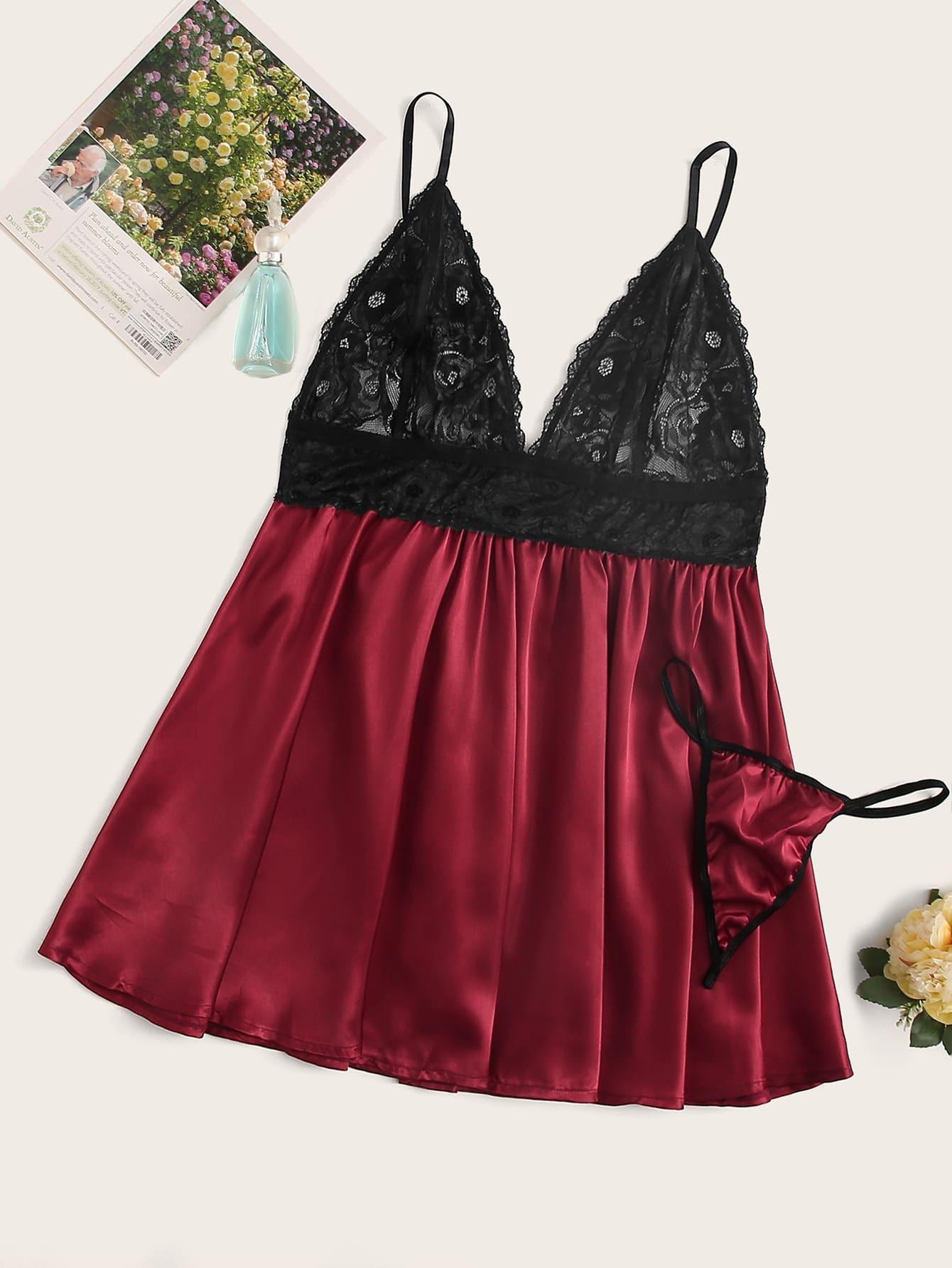 Фото - Атласная пижама размера плюс с кружевом и стринги от SheIn цвет бургундия