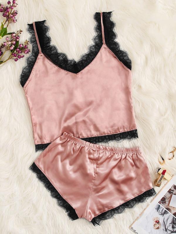 Фото - Атласный комплект нижнего белья размера плюс с кружевной отделкой от SheIn цвет розовые
