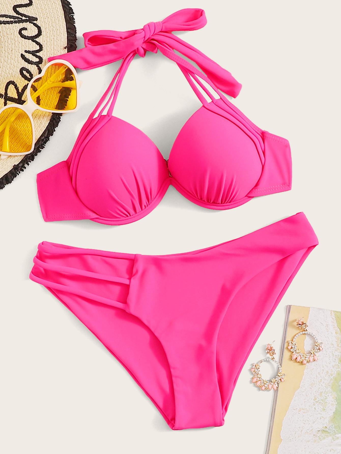 Фото - Бикини на косточках от SheIn розового цвета