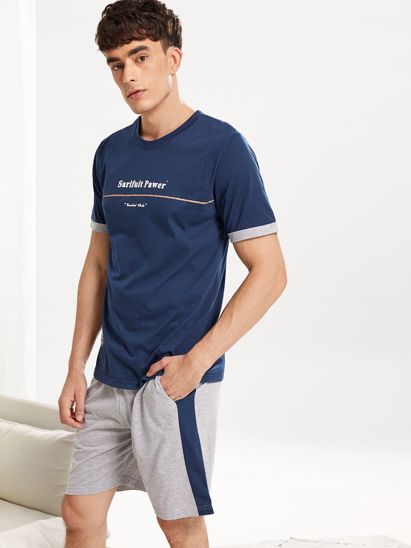 Комплект пижамы с рисунками буквы и со симметрическими Binding для мужчины от SheIn