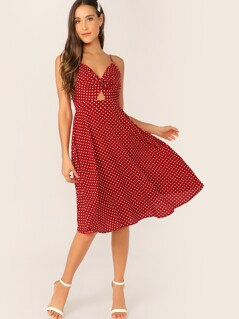 Dot Print Twist Front Cami Dress