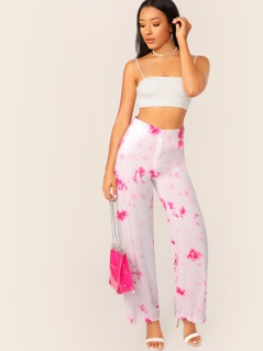 Straight Wide Leg Two Tone Tie Dye Twill Pants