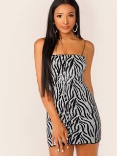 Spaghetti Strap Sequined Zebra Print Mini Dress