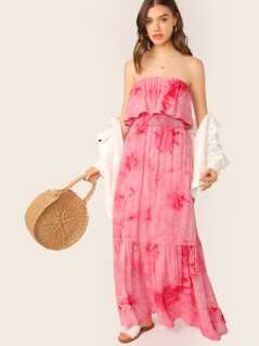 Ruffle Overlay Strapless Tie Dye Maxi Dress