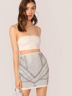 Chevron Rhinestone Accent Mini Pencil Skirt