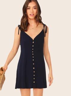 Sleeveless Tie Straps Button Front Tunic Dress