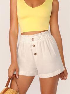 Elastic Waist Button Detail Linen Shorts