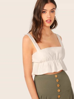 Elastic Ruched Ruffle Sleeveless Crop Top