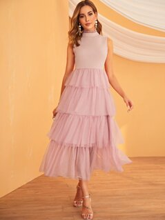 Frill Neck Layered Mesh Hem Sleeveless Dress