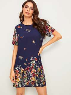 Floral Print Keyhole Back Tunic Dress