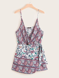 Plus Paisley and Floral Print Tie Side Wrap Cami Playsuit