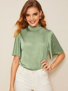 Mock-neck Bell Sleeve Satin Top