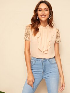Jabot Collar Guipure Lace Sleeve Top
