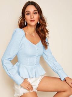 Covered Button Textured Knit Peplum Shirt