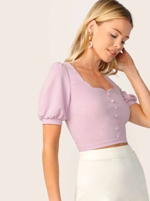 Scallop Trim Button Embellished Crop Top