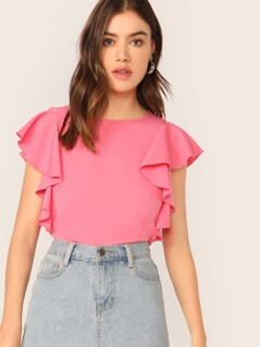 Solid Ruffle Trim Top