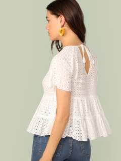 Raglan Sleeve Schiffy Peplum Top