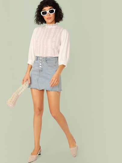 SheIn / Guipure Lace Neck Embroidery Eyelet Top