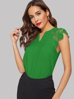 V-Cut Guipure Lace Shoulder Top
