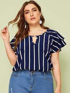 Plus Layered Sleeve Peekaboo Striped Top