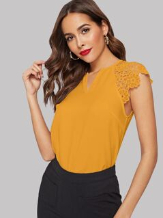Notch Neck Guipure Lace Sleeve Top