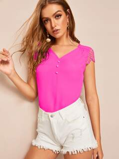 Neon Pink Buttoned Detail Guipure Lace Sleeve Top