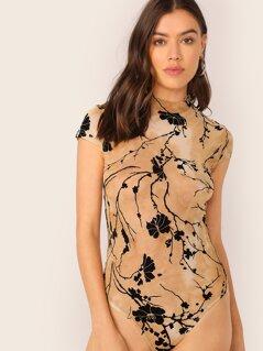 Mock-Neck Floral Print Tie Dye Fitted Bodysuit