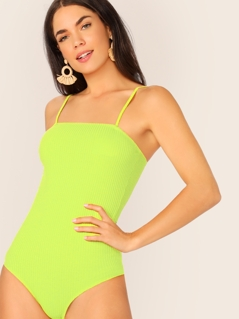 Neon Lime Rib-knit Form Fitted Cami Bodysuit