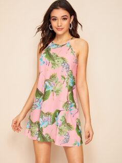 Keyhole Back Tropical and Tiger Print Halter Dress
