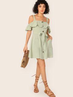 Cold Shoulder Ruffle Trim Patch Pocket Belted Dress
