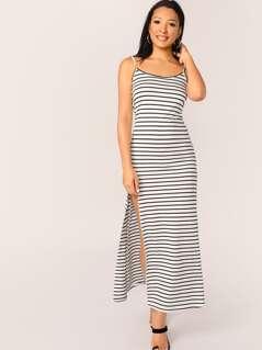 Split Thigh Striped Cami Dress