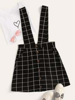 Grid Print Button Front Pinafore Dress
