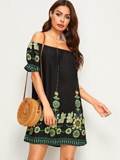 Tribal Floral Print Bardot Tunic Dress